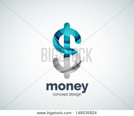 Vector dollar logo template, abstract business icon