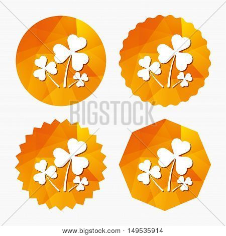 Clovers with three leaves sign icon. Saint Patrick trefoil shamrock symbol. Triangular low poly buttons with flat icon. Vector