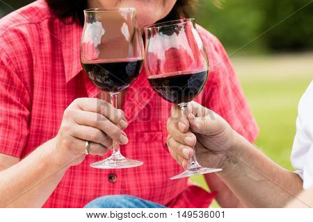 Close-up Of Senior Couple Toasting Glass Of Wine