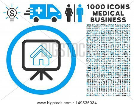Project Slideshow icon with 1000 medical commercial gray and blue glyph pictograms. Clipart style is flat bicolor symbols, white background.