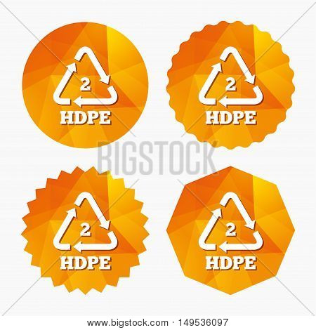 Pe-hd 2 icon. Polyethylene high-density sign. Recycling symbol. Triangular low poly buttons with flat icon. Vector