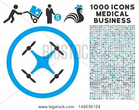 Quadcopter icon with 1000 medical commerce gray and blue glyph pictographs. Design style is flat bicolor symbols, white background.