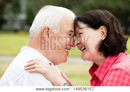 Close-up Of A Loving Happy Senior Couple