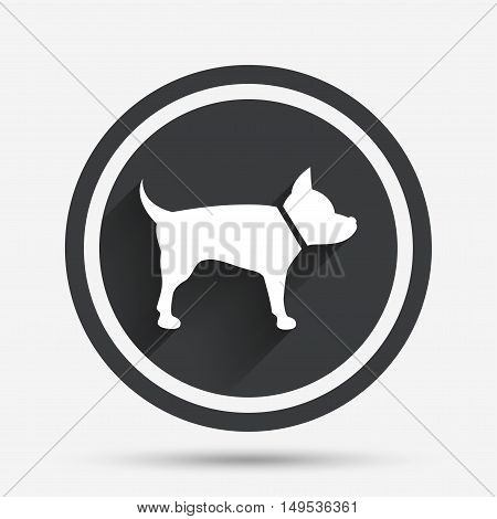 Dog sign icon. Pets symbol. Circle flat button with shadow and border. Vector