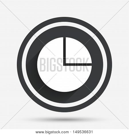 Pie chart graph sign icon. Diagram button. Circle flat button with shadow and border. Vector