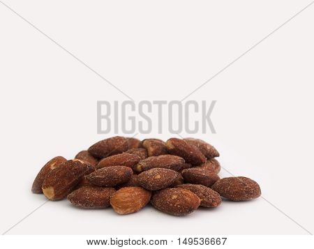 Almonds Placed on a white background. (Space for placing text)