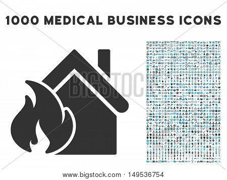 Realty Fire Disaster icon with 1000 medical commercial gray and blue glyph pictograms. Collection style is flat bicolor symbols, white background.