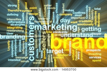 Word cloud tags concept illustration of brand marketing glowing light effect