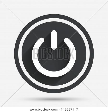 Power sign icon. Switch on symbol. Turn on energy. Circle flat button with shadow and border. Vector