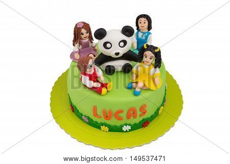 Beautiful cake for children. With the dolls and children panda.