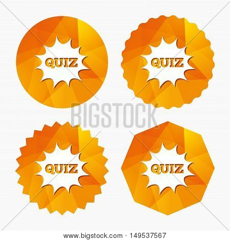 Quiz boom speech bubble sign icon. Questions and answers game symbol. Triangular low poly buttons with flat icon. Vector