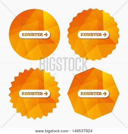 Register with arrow sign icon. Membership symbol. Website navigation. Triangular low poly buttons with flat icon. Vector