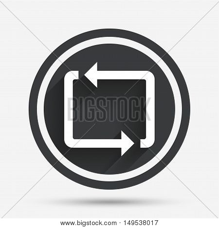Repeat icon. Loop symbol. Refresh sign. Circle flat button with shadow and border. Vector