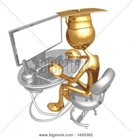 Concepto de graduación de educación en línea oro Grad
