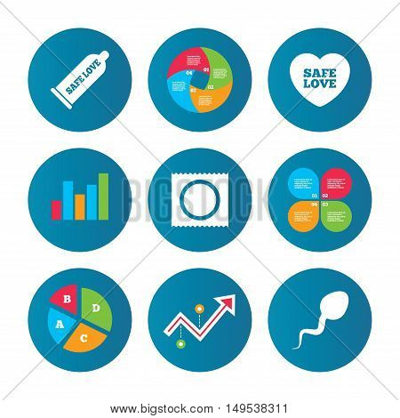Business pie chart. Growth curve. Presentation buttons. Safe sex love icons. Condom and package symbol. Sperm sign. Fertilization or insemination. Data analysis. Vector