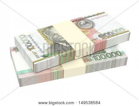 Laotian kip bills isolated on white background. 3D illustration.