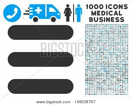 Stack icon with 1000 medical business gray and blue glyph design elements. Collection style is flat bicolor symbols, white background.