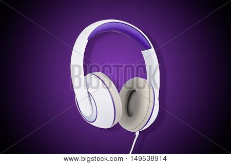 White and purple padded headphones isolated on purple background