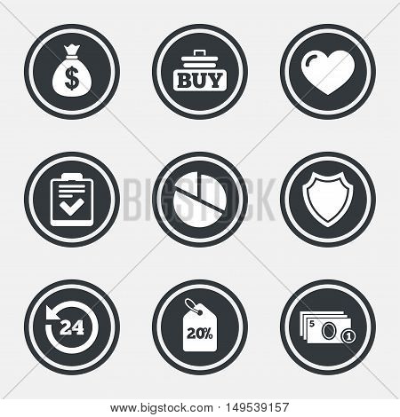 Online shopping, e-commerce and business icons. Checklist, like and pie chart signs. Money bag, discount and protection symbols. Circle flat buttons with icons and border. Vector