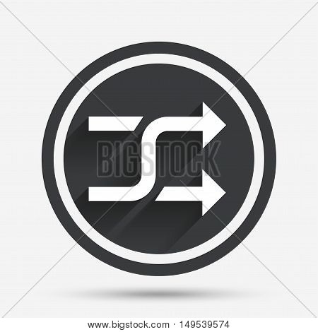 Shuffle sign icon. Random symbol. Circle flat button with shadow and border. Vector
