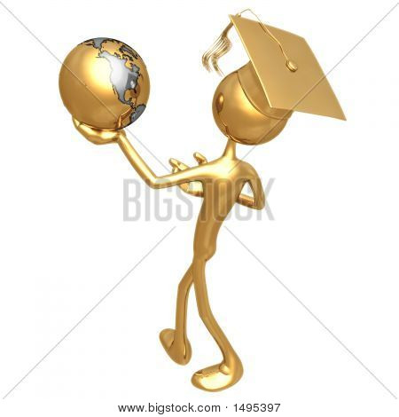 Golden Grad Holding The Earth Graduation Concept