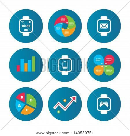Business pie chart. Growth curve. Presentation buttons. Smart watch icons. Wrist digital time watch symbols. Mail, Game joystick and wi-fi signs. Data analysis. Vector