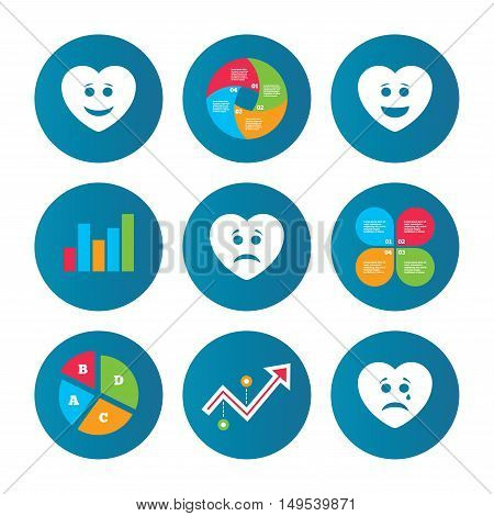 Business pie chart. Growth curve. Presentation buttons. Heart smile face icons. Happy, sad, cry signs. Happy smiley chat symbol. Sadness depression and crying signs. Data analysis. Vector