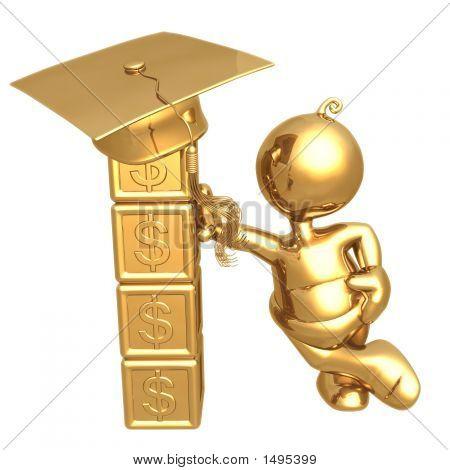 Building Blocks For Future Education Fund Savings Dollar Graduation Concept