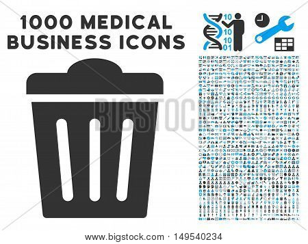 Trash Can icon with 1000 medical business gray and blue glyph pictographs. Set style is flat bicolor symbols, white background.