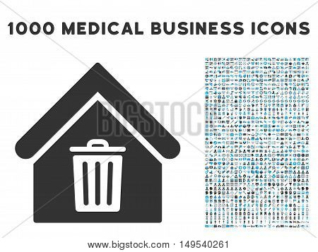 Trash House icon with 1000 medical business gray and blue glyph pictograms. Clipart style is flat bicolor symbols, white background.