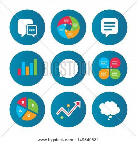 Business pie chart. Growth curve. Presentation buttons. Chat icons. Comic speech bubble signs. Communication think symbol. Data analysis. Vector