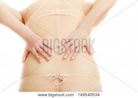 Woman In Lingerie With Backache
