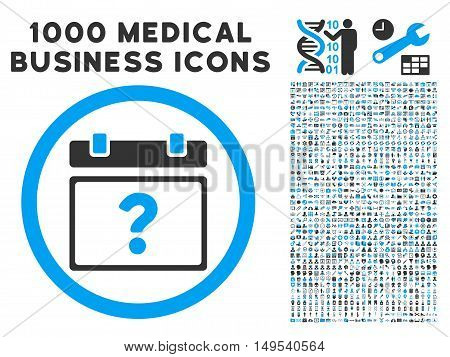 Unknown Date icon with 1000 medical commercial gray and blue glyph design elements. Collection style is flat bicolor symbols, white background.
