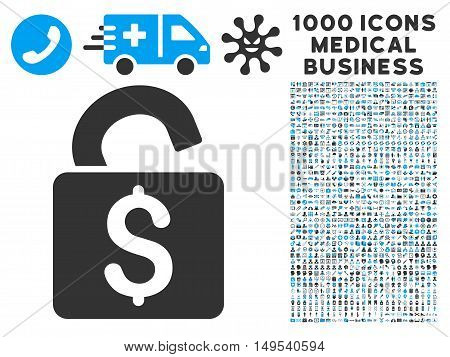 Unlock Banking Lock icon with 1000 medical commerce gray and blue glyph design elements. Clipart style is flat bicolor symbols, white background.