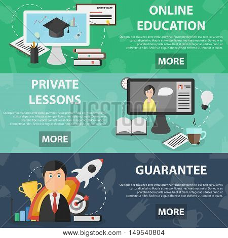 Vector flat horizontal banners of online education and private lessons for website and apps. Business concept poster of studying. Set of school equipment.