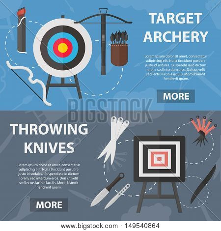Set of vector flat horizontal banners of archery and throwing knives sport for website and apps. Business concept posters of sale of rare weapons.