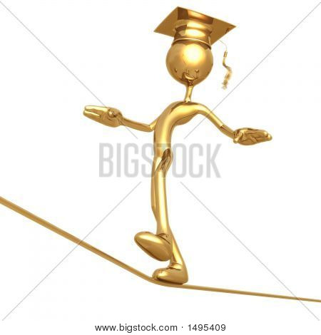 Golden Grad Tight Rope Walking Graduation Concept