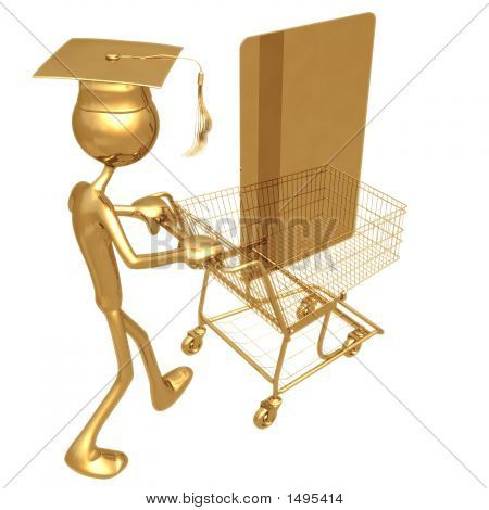 Golden Grad Shopping With Credit Card Graduation Concept