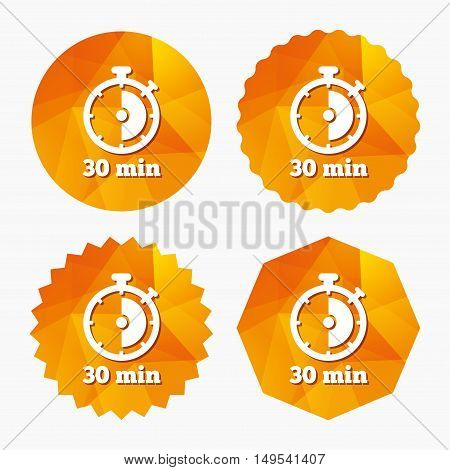 Timer sign icon. 30 minutes stopwatch symbol. Triangular low poly buttons with flat icon. Vector