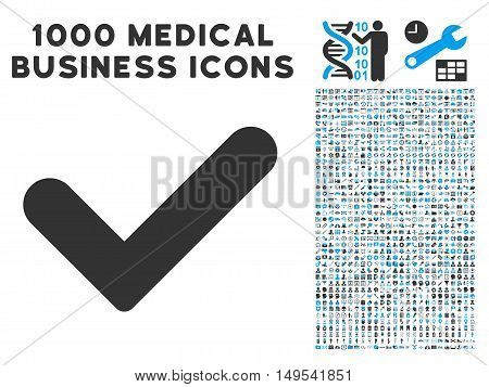 Yes icon with 1000 medical commerce gray and blue glyph design elements. Clipart style is flat bicolor symbols, white background.