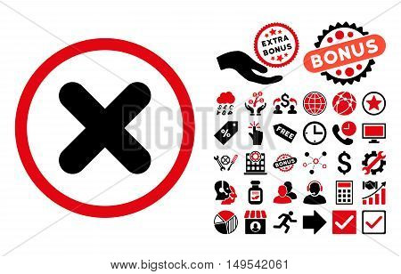 Cancel pictograph with bonus pictures. Glyph illustration style is flat iconic bicolor symbols, intensive red and black colors, white background.