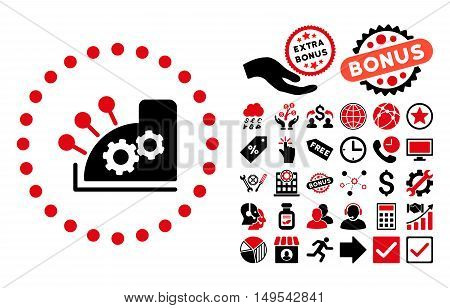 Cash Register pictograph with bonus elements. Glyph illustration style is flat iconic bicolor symbols, intensive red and black colors, white background.