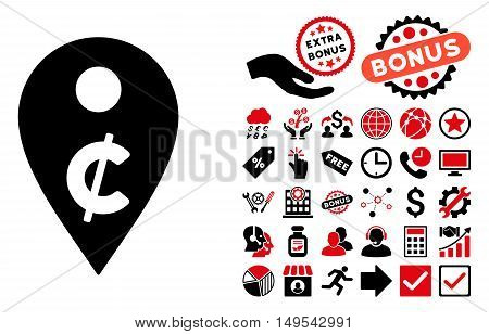 Cent Map Marker pictograph with bonus elements. Glyph illustration style is flat iconic bicolor symbols, intensive red and black colors, white background.