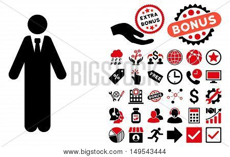 Clerk icon with bonus pictures. Glyph illustration style is flat iconic bicolor symbols, intensive red and black colors, white background.