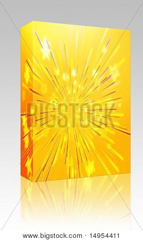 Software package box Central bursting explosion of dynamic flying stars, abstract illustration