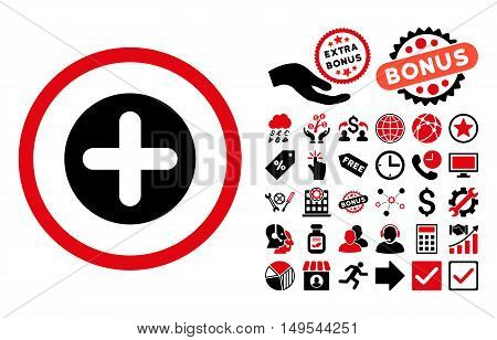 Create pictograph with bonus images. Glyph illustration style is flat iconic bicolor symbols, intensive red and black colors, white background.