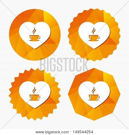 Love Coffee icon. Hot coffee cup sign. Hot tea drink with steam. Triangular low poly buttons with flat icon. Vector