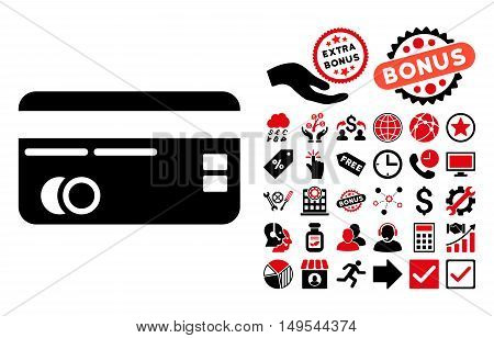 Credit Card icon with bonus elements. Glyph illustration style is flat iconic bicolor symbols, intensive red and black colors, white background.