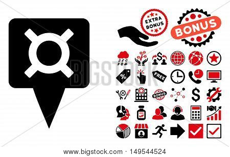 Currency Map Pointer pictograph with bonus elements. Glyph illustration style is flat iconic bicolor symbols, intensive red and black colors, white background.