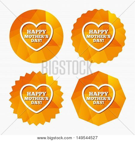 Happy Mothers's Day sign icon. Mom symbol. Triangular low poly buttons with flat icon. Vector